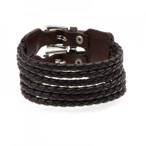 Unisex Leather Bracelet Belt Hippie Wristband Cuff Braid Brown A0290