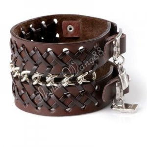 Cool Adjustable Fashion Women/Man Cuff Belt Buckle Leather Wristband Bracelet Brown A0139