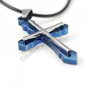 Mens Celtic Stainless Steel Cross Pendant Necklace Blue YL837