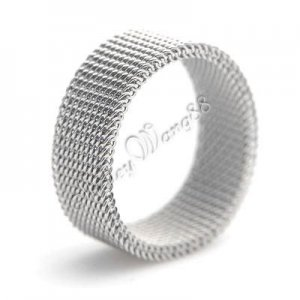 US Size 8 316L Stainless Steel Flexible Mesh Link Chain 6mm Band Ring Silver  A0692-18