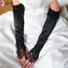 "12"" Black Lace Fingerless Bridal Satin Gloves Wedding Dress Suit Party Evening  A0628-3"