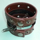 Leather Buckle Cuff Stud Belt Bracelet Wristband Coffee A0511
