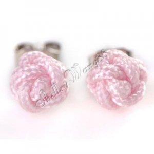 Pair Pink Handmade Stainless Steel Women Men Studs Earring Ear Plug Nylon Rose Flower Z0005