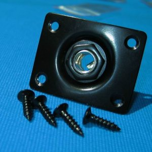 Black Curved Square Style Plate Guitar Bass 1/4 Output Input Jack For LP/SG/Telecaster  A0994