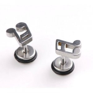 2x Nice Stainless Steel Music Note Shaped Studs Earring YL497
