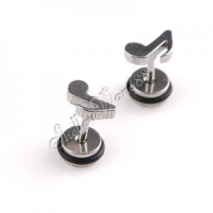 2x Nice Stainless Steel Music Note Shaped Studs Earring YL498