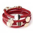 Fashion RedLeather Wristband Cuff Belt Bracelet Golden Studs A0842