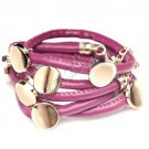 Fashion Purple Leather Wristband Cuff Belt Bracelet Golden Studs A1021