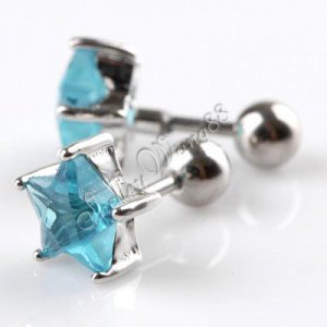 Pair of Men/Women Earring Ear Studs Stainless Steel Blue Star Shaped CZ Crystal Fake Plug YL581