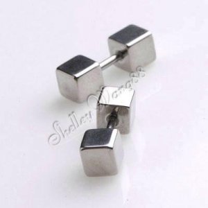 2x Cool Stainless Steel 6mm Cube Studs plug Earring YL448-06