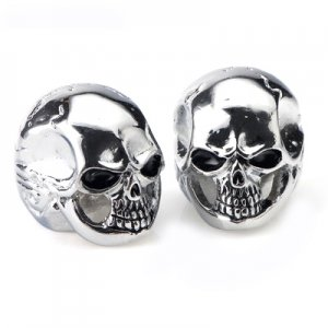 2 Piece Cool Electric Guitar Metal Skull Volume Tone Knob Chrome Fits all Leading Brands A0336-2