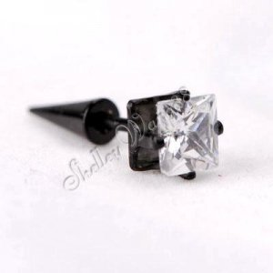 A Pair of Earring Ear Stud Stainless Steel White Onyx 21*6mm YL299