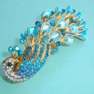 Elegant White & Blue Crystal Peacock Hair Clip Barrete A0406