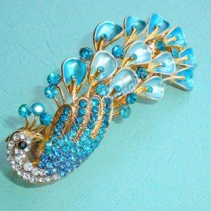 Elegant White & Blue Crystal Peacock Hair Clip Barrete A0406