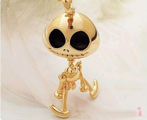 Gloden Sweater Chain Necklace Nightmare Before Xmas Jack Skellington UFO Skull 10277