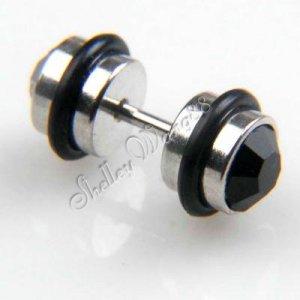 1 Pair of Mens Earring Ear Stud Stainless Steel Black Onyx 18*8mm YL040-08