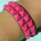 New Silicone Black Rubber Bangle Elastic Belt Bracelet Buckle Pyramid Button Pink A1235