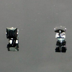 10mm A Pair of New Mens Magnetic Earring Ear Stud Stainless Steel Square Black Onyx  YL1211