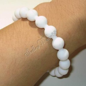 Silicone Rubber Bangle Elastic Belt Bracelet Cuff Dot Wrist Band Bead Ball White A1213