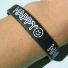 Silicone Rubber Bangle Black Elastic Belt Bracelet White Happy Smiley :-) Smile A1185