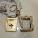 MINI Holy BIBLE MINIATURE KEY CHAIN Keyring CRAFTS VBS Christian Jesus /w Case A1177