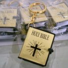 MINI Holy BIBLE MINIATURE KEY CHAIN Keyring CRAFT VBS Christian Jesus Gold Cover A1178