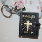 New MINI Holy BIBLE MINIATURE KEY CHAIN Keyring VBS Christian Jesus Black Cover A1179