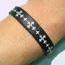 Silicon Rubber Black Bangle Elastic Belt Bracelet Latin Cross Fleuree Budded A1164