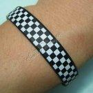 Silicon Rubber Bangle Elastic Belt Bracelet Shepherd Check Grid Black & White A1153