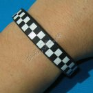 Silicon Rubber Bangle Elastic Belt Bracelet Black Unisex Shepherd check Grid A1018