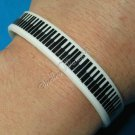 Silicon Rubber Bangle Elastic Belt Bracelet Black & White Piano Keyboard Music A1016