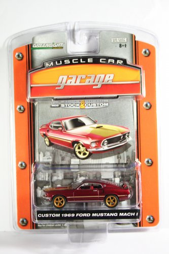 GreenLight Custom 1969 Ford Mustang Mach 1 Muscle Car Garage Stock & Custom Series 1