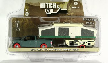 GreenLight RED TIRE CHASE 2015 Ford F-150 with Pop-Up Camper Trailer - Hitch & Tow S8
