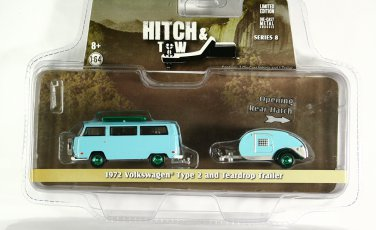 GreenLight GREEN MACHINE 1972 Volkswagen Type 2 and Tear Drop Trailer - Hitch & Tow S8