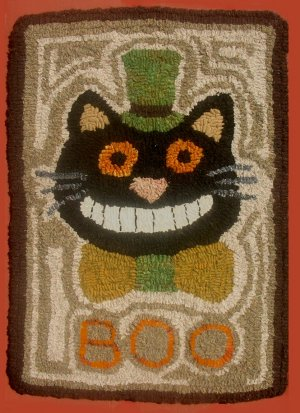Boo Cat Primitive Rug Hooking Halloween Pattern on Linen