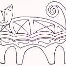 Primitive Rug Hooking Pattern Crazy Cat on Linen
