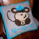 Personalized Baby Pillow Rug Hooking Pattern on Linen