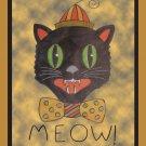 Meow Cat Halloween Rug Hooking Pattern on Linen