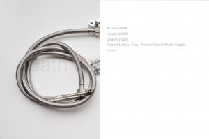 NEW ANMA 0.85M 2 Stainless Steel Flexible Faucet Water Supply Hoses