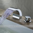NEW**deck mount Waterfall basin Faucet LED chrome finish LED002