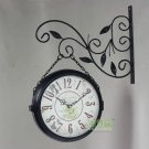 Double Dial Wall Clock in Iron 2639