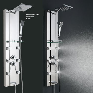 Stainless Steel Rainfall Shower Panel Tower Tub Faucet 6 Body Massage Jets  Mirror Finish ML 8806