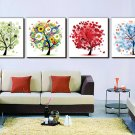 """12"""" Modern Style Tree Wall Clock in Canvas 4pcs-3"""