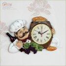 Chef Design Polyresin Wall Clock for Restaurant-1