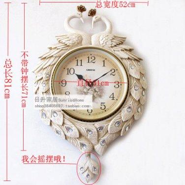 """31"""" Peacock Design Polyresin Wall Clock"""