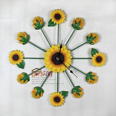 Sunflower Resin Mute Wall Clock