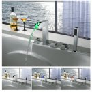 NEW Contemporary LED tub Faucet with hand shower chrome finish LPF01