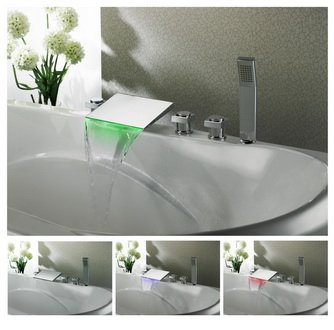 NEW Contemporary rainfall LED tub Faucet with hand shower chrome finish LPF04