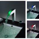 NEW Contemporary rainfall LED Basin Faucet chrome finish LPT02