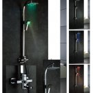 NEW Contemporary wall mount rainfall LED shower Faucet chrome finish LRS02